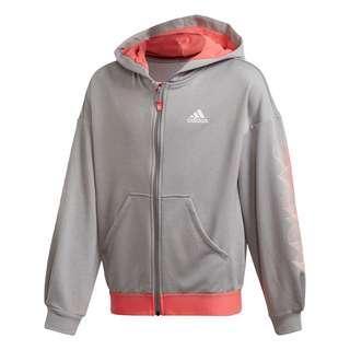 adidas UP2MV AEROREADY Loose Kapuzenjacke Sweatshirt Kinder Medium Grey Heather / Semi Flash Red / White