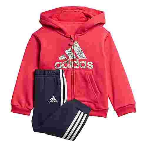 adidas Fleece Hooded Jogginganzug Trainingsanzug Kinder Power Pink / White