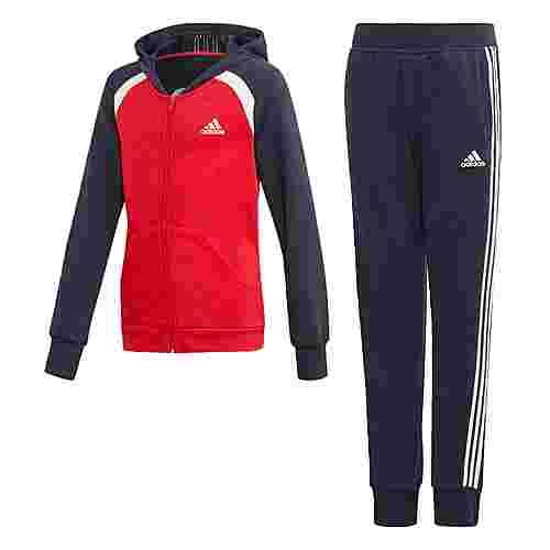 adidas Hooded Cotton Trainingsanzug Trainingsanzug Kinder Scarlet / Legend Ink / White