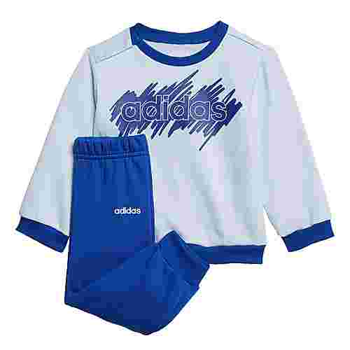 adidas Linear French Terry Jogginganzug Trainingsanzug Kinder Sky Tint / Royal Blue