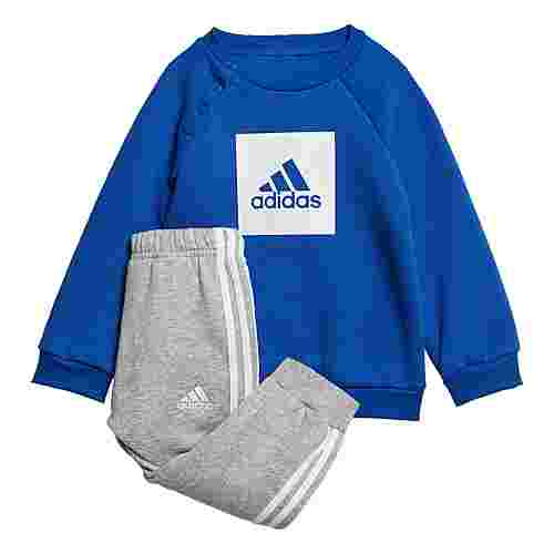 adidas 3-Streifen Fleece Jogginganzug Trainingsanzug Kinder Royal Blue / White