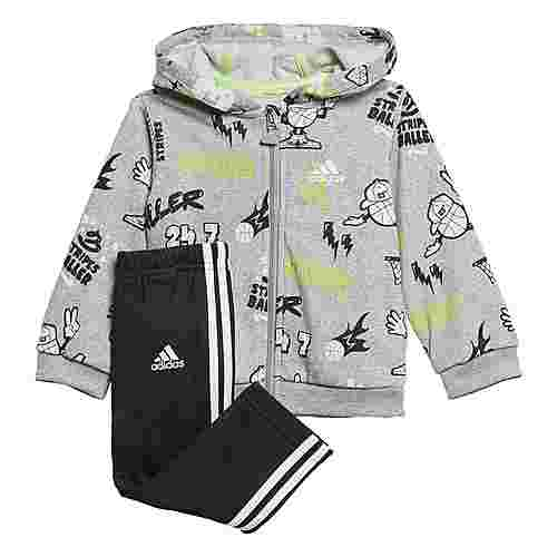 adidas French Terry Graphic Trainingsanzug Trainingsanzug Kinder Medium Grey Heather / White