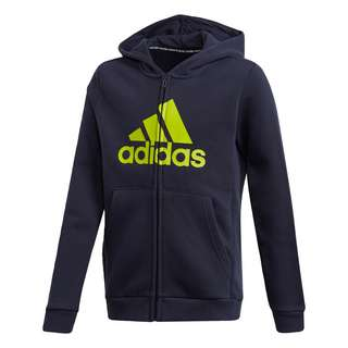 adidas Must Haves Fleece Full-Zip Kapuzenjacke Sweatjacke Kinder Legend Ink / Semi Solar Slime