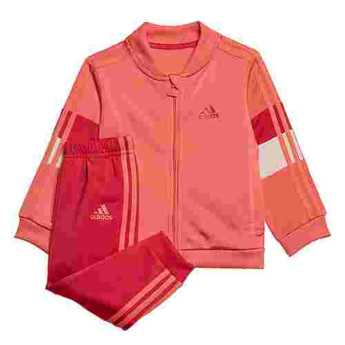 adidas Shiny Trainingsanzug Trainingsanzug Kinder Semi Flash Red / Power Pink