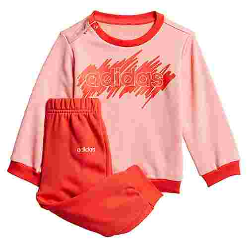 adidas Linear French Terry Jogginganzug Trainingsanzug Kinder Glow Pink / Hi-Res Red
