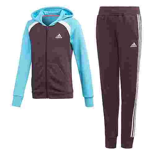 adidas Hooded Cotton Trainingsanzug Trainingsanzug Kinder Noble Purple / Bright Cyan / White