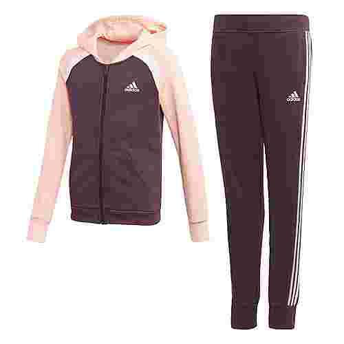 adidas Hooded Cotton Trainingsanzug Trainingsanzug Kinder Noble Purple / Haze Coral / White