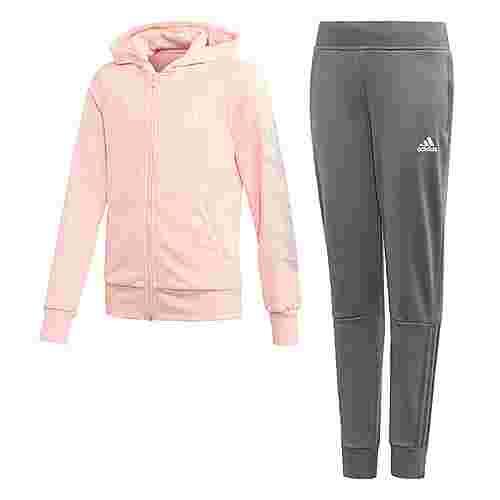 adidas Hooded Polyester Trainingsanzug Trainingsanzug Kinder Haze Coral / White