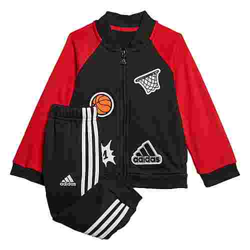 adidas Collegiate Trainingsanzug Trainingsanzug Kinder Black / Scarlet / White