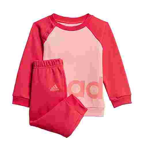 adidas Linear Fleece Jogginganzug Trainingsanzug Kinder Glow Pink / Power Pink / Signal Pink / Coral