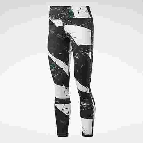 Reebok Workout Ready Printed Leggings Tights Damen Schwarz