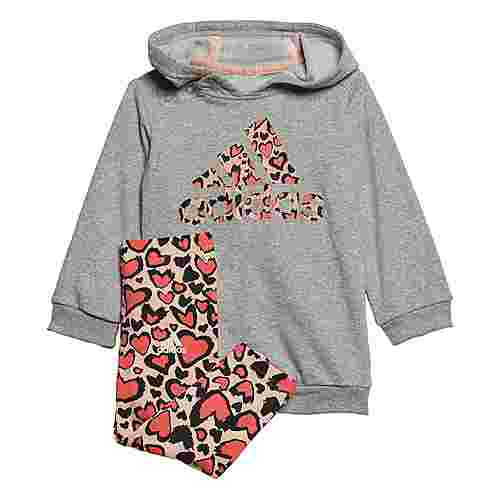 adidas Hoodie-Set Trainingsanzug Kinder Medium Grey Heather / Haze Coral / Semi Flash Red