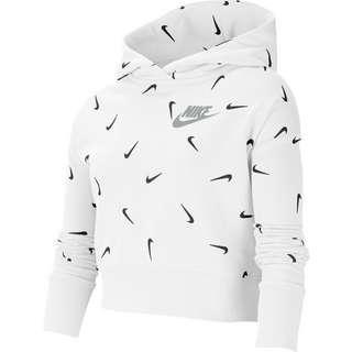 Nike Hoodie Kinder white-black-lt smoke grey