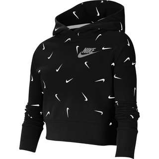 Nike Hoodie Kinder black-white-lt smoke grey