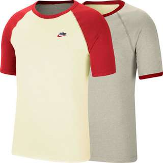 Nike NSW T-Shirt Herren sail/oatmeal heather/university red