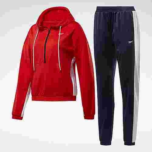 Reebok Linear Logo Hoodie Track Suit Trainingsanzug Damen Rot