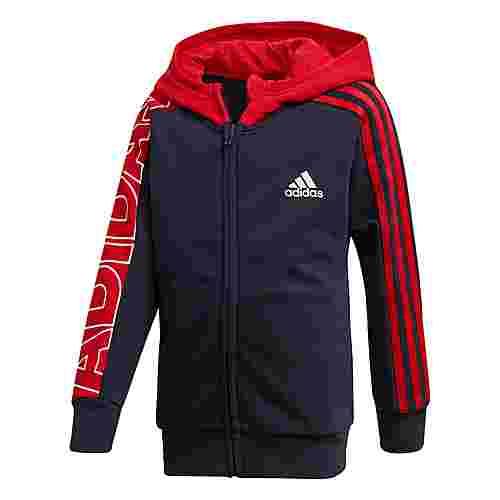 adidas Branded Knit Kapuzenjacke Trainingsjacke Kinder Legend Ink / Scarlet