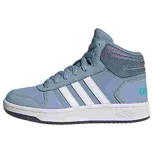 adidas Hoops 2.0 Mid Schuh Basketballschuhe Kinder Tactile Blue / Cloud White / Legacy Blue
