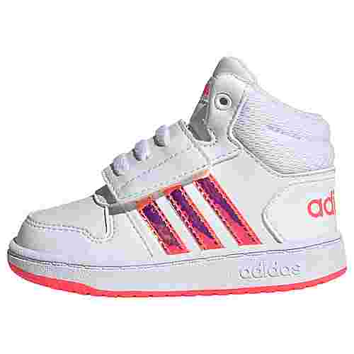 adidas Hoops 2.0 Mid Schuh Basketballschuhe Kinder Cloud White / Cloud White / Signal Pink / Coral