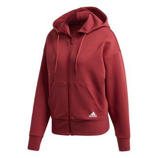 adidas 3-Streifen Doubleknit Scuba Kapuzenjacke Trainingsjacke Damen Rot