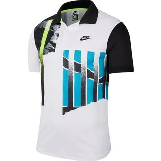 Nike Court Advantage Tennis Polo Herren white-black-neo teal-black