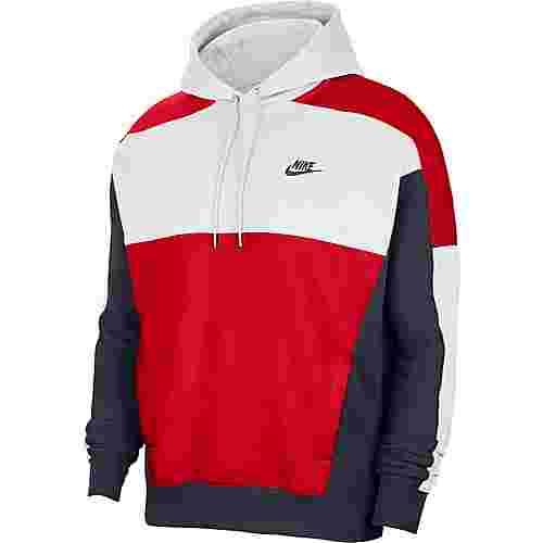 Nike NSW Hoodie Herren white/obsidian/university red/obsidian