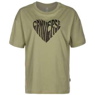 CONVERSE Converse Heart Reverse Print T-Shirt Damen oliv