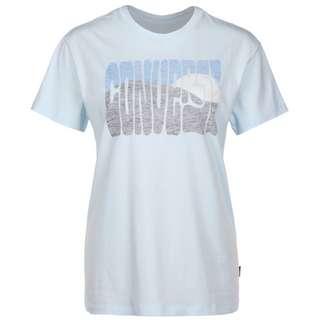 CONVERSE Converse Mountain Reverse Print T-Shirt Damen blau