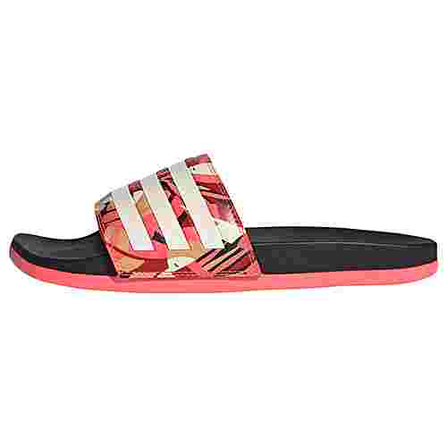 adidas Comfort Adilette Badelatschen Damen Core Black / Linen / Signal Pink