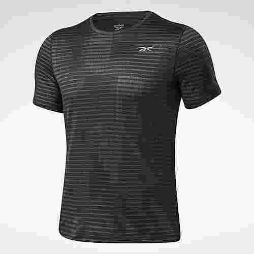 Reebok Run Jacquard T-Shirt Laufshirt Herren Schwarz