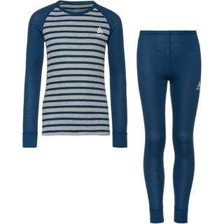 Odlo Active Warm Eco Wäscheset Kinder estate blue-grey melange-stripes