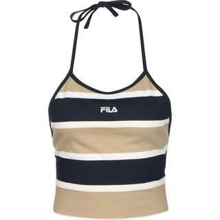 FILA Striped Halter Croptop Damen beige/blau/gestreift