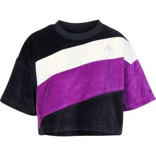 CONVERSE Velour Cropped Boxy W T-Shirt Damen schwarz/lila