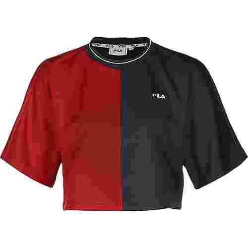 FILA Sadah Cropped Wide T-Shirt Damen blau/rot