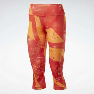 Reebok Workout Ready Printed Capri Tight Tights Damen Rot