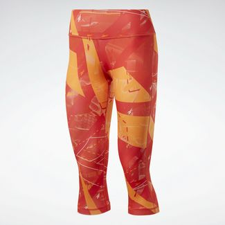 Reebok Workout Ready Printed Capri Tight Tights Damen Rot