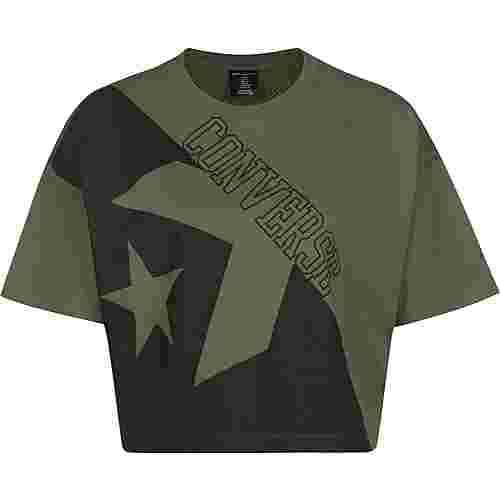 CONVERSE Linear Wordmark Boxy W T-Shirt Damen oliv