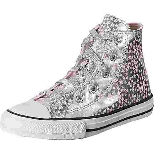 CONVERSE All Star Hi Sneaker Kinder silber/pink