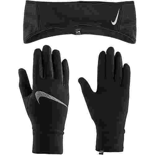 Nike Essential Set Stirnband und Handschuhe Damen black-silver