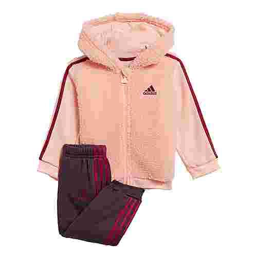 adidas Fur Full-Zip Hooded Jogginganzug Trainingsanzug Kinder Haze Coral / Power Berry