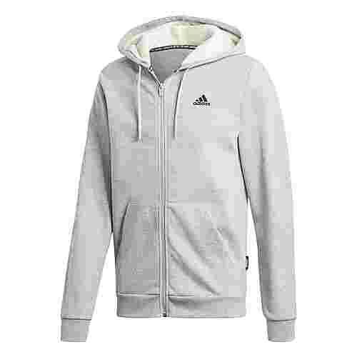 adidas Winter 3-Streifen Kapuzenjacke Sweatjacke Herren Medium Grey Heather / Cream White