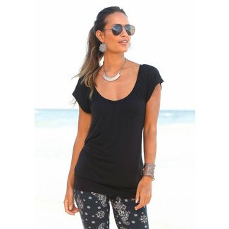 Lascana V-Shirt Damen schwarz