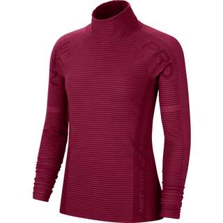 Nike Pro HyperWarm Funktionsshirt Damen dark beetroot-metallic silver