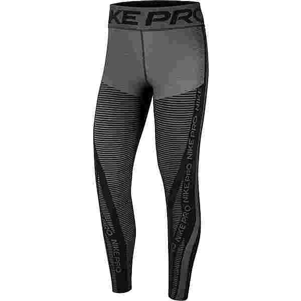 Nike Pro HyperWarm Tights Damen black-white-metallic silver