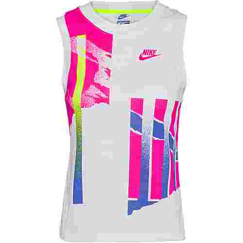Nike Court Slam Funktionstank Damen white-hot lime-sapphire-pink foil