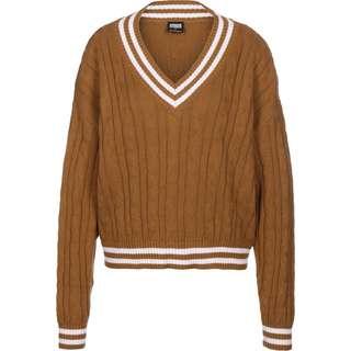 Urban Classics Short V-Neck College Sweatshirt Damen braun