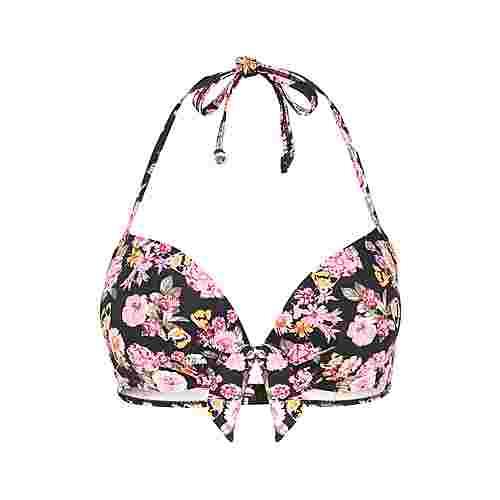 Lascana Bikini Oberteil Damen blümchen-rosa-schwarz
