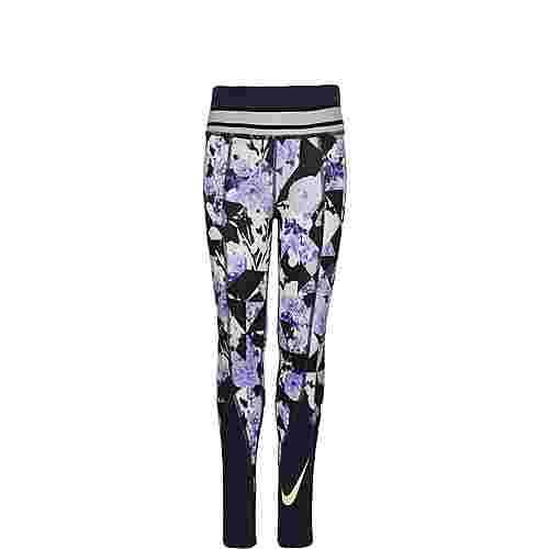 Nike One Floral Tights Kinder schwarz