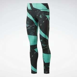 Reebok Workout Ready Printed Leggings Tights Damen Grün