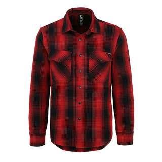 REPLAY mit Brusttaschen Langarmhemd Herren rot/schwarz